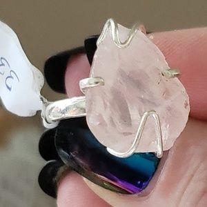 GORGEOUS Blush Rough Morganite ring .925 Handmade